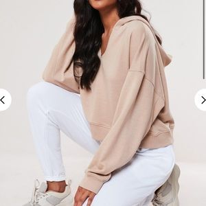 Petite oversized notch neck hoodie Missguided